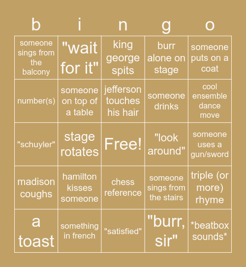 hamilton movie bingo Card