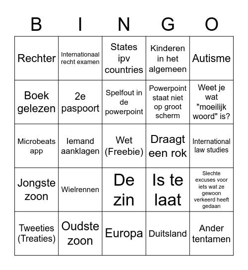 Dutch Bingo Card