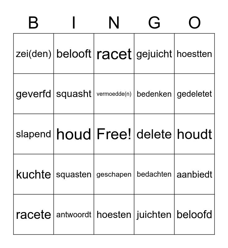 Dutch Words Bingo Card