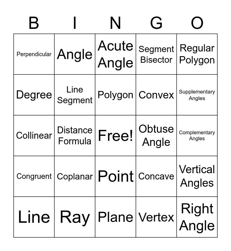 Trigonometry Bingo Card