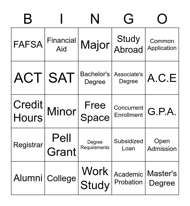 College Lingo Bingo Card