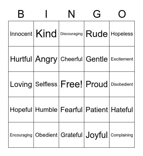 Attitudes Bingo Card