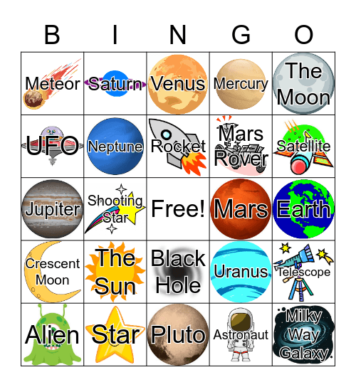 Space, Bingo, Galactic Bingo Card