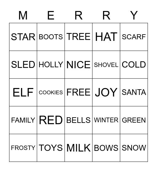 CHRISTMAS BINGO  Bingo Card