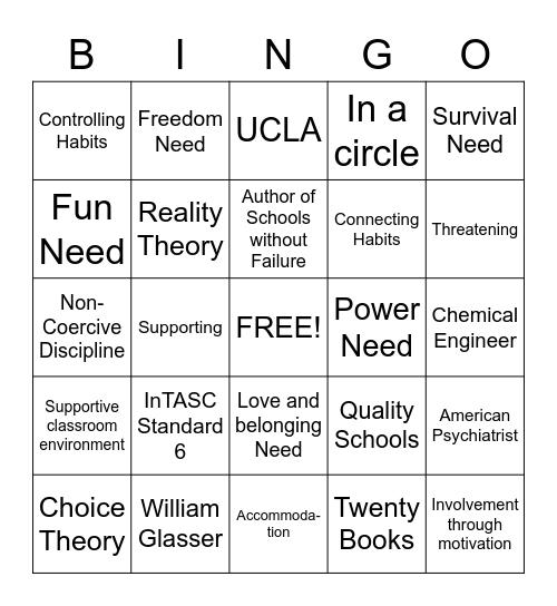 Behavior Bingo Card