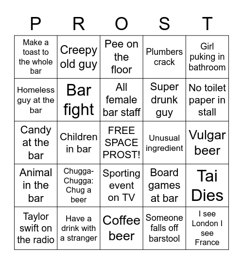 Colfax Brewery Crawl Bingo Card