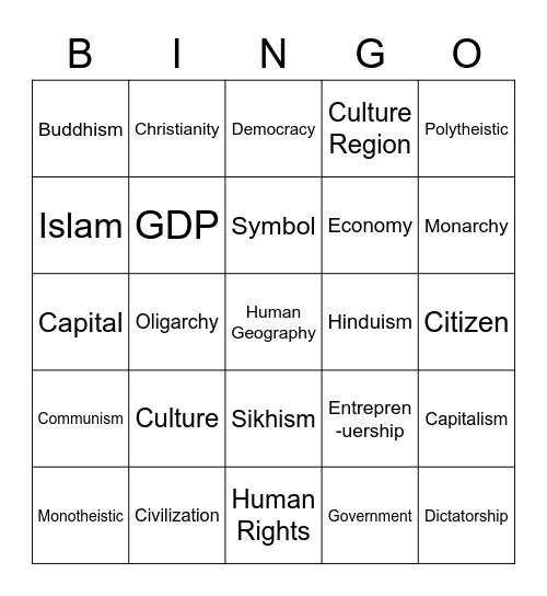 Human Geography Bingo Card