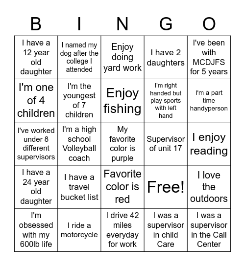 New Hire Bingo Card