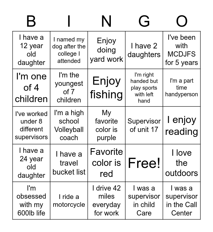 New Hire Bingo Card