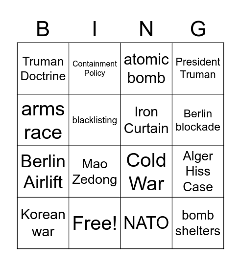 Cold War Bingo, Cold war bingo Card