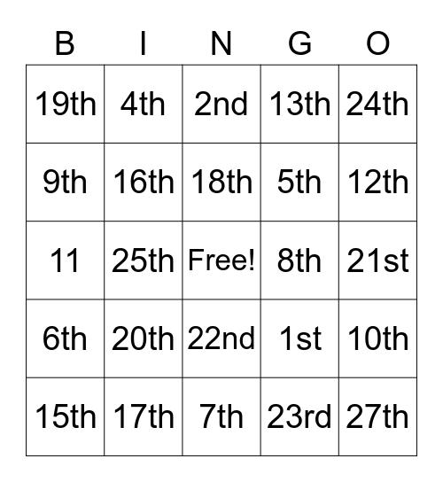 United States Constitution Bingo Card