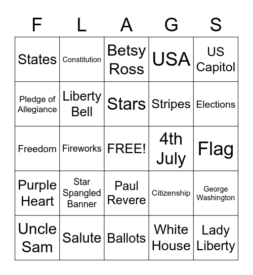 PATRIOTIC BINGO Card