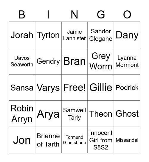 Game of Thrones Bingo Card
