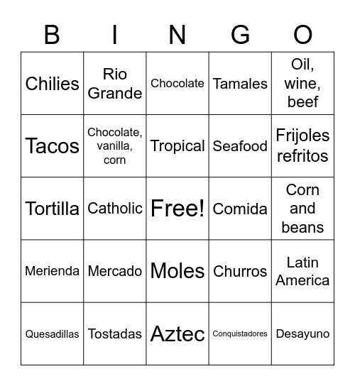 Mexico History Bingo Card