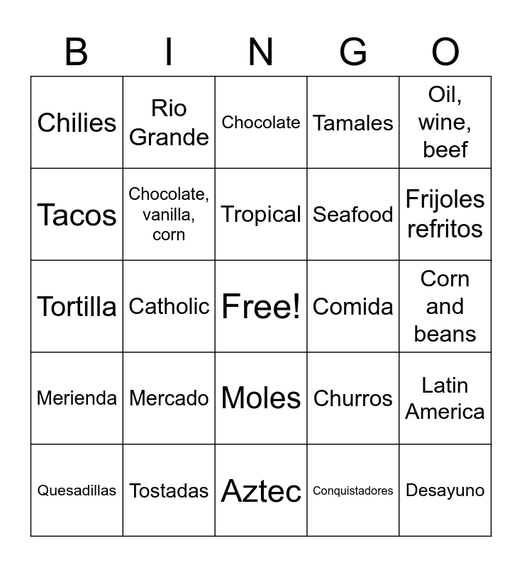 Mexico History Bingo Card