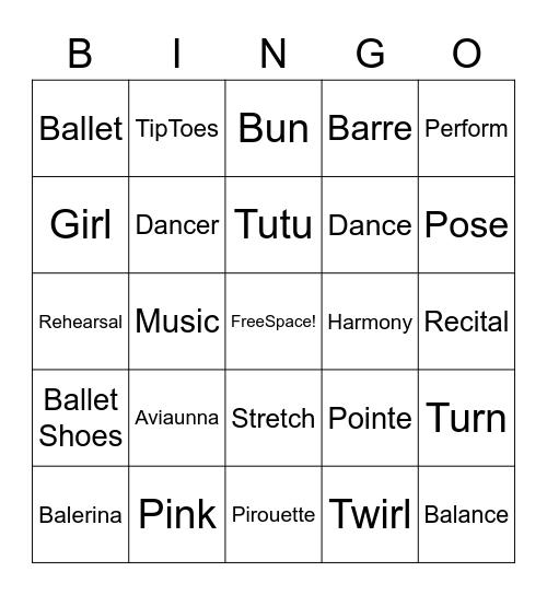 Ballet Bingo Card