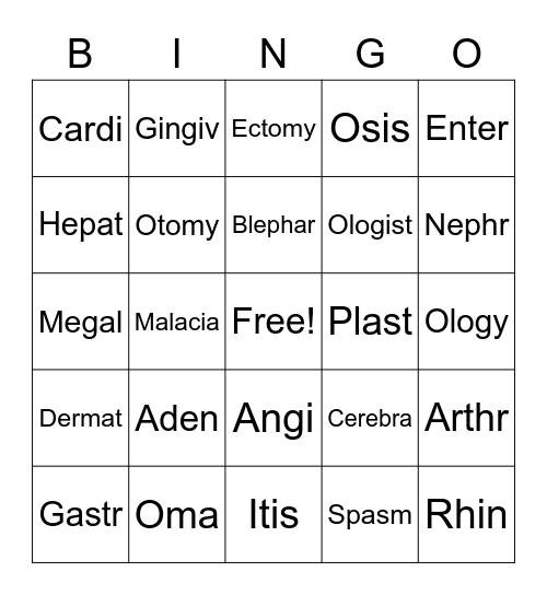 Medical Terminology(bingo cards) Bingo Card