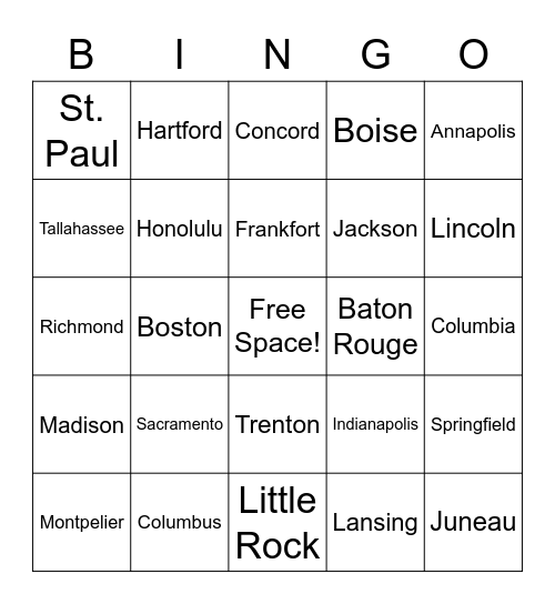 U.S. State Capitals Bingo Card