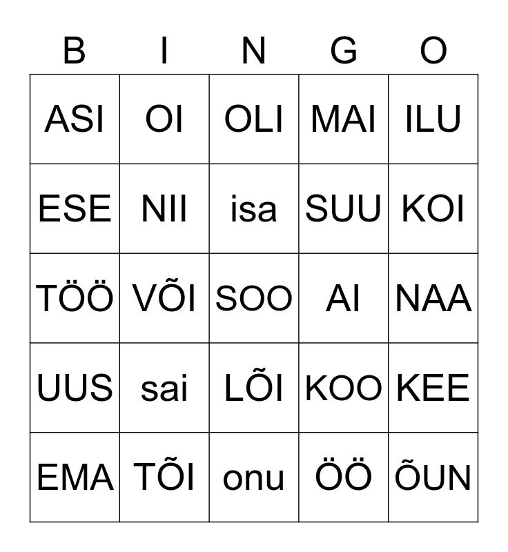 lugemise bingo Card