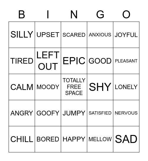 FEELINGS BINGO Card