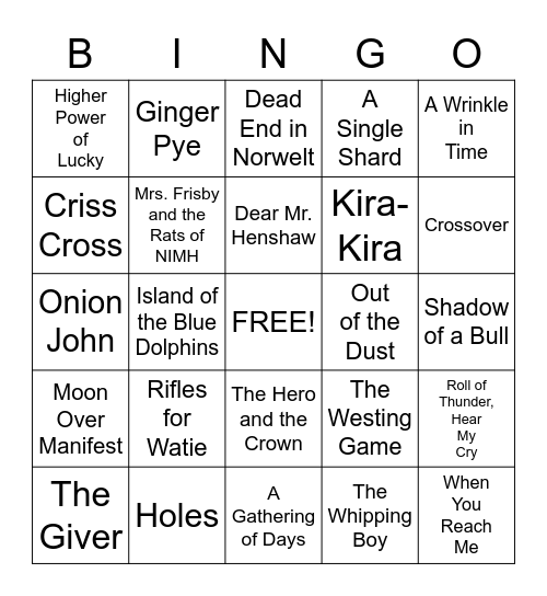 Newbery Bingo Card