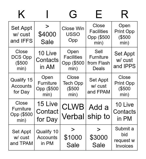 Cold Cash KIGER, Cold Cash Kiger Bingo Card