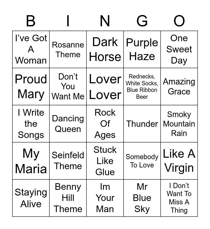 Music Bingo 2-7 Bingo Card