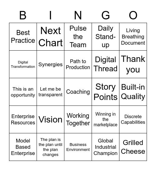 Digital Enterprise Bingo Card