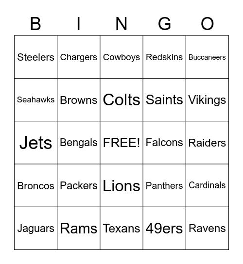 American Football Bingo Card