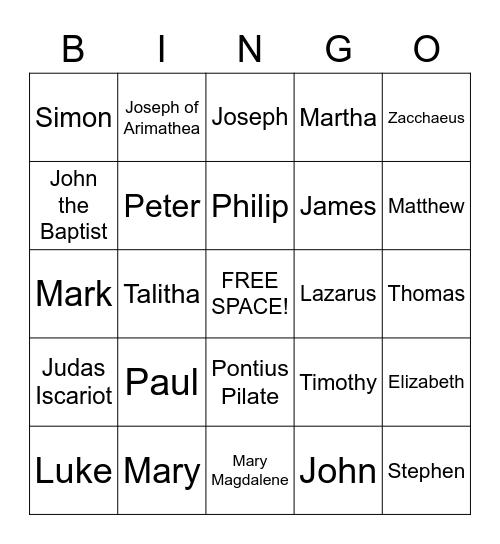 People's Names in the Bible Bingo Card