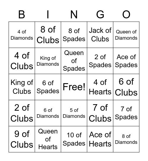 Deck of Cards Bingo Card