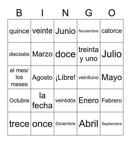 Español Bingo Card