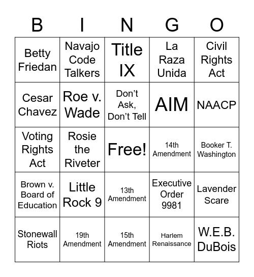American History Bingo Card