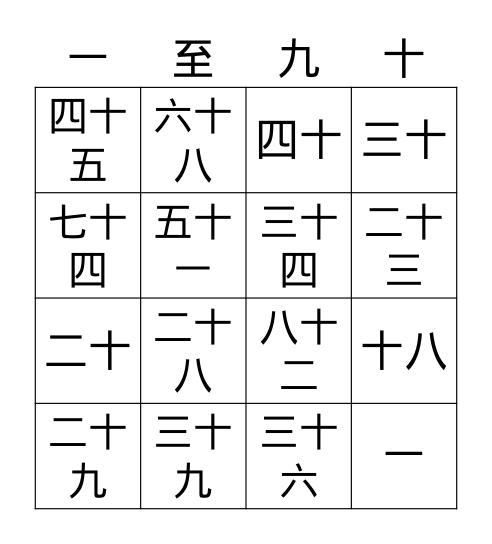 中文 BINGO Card