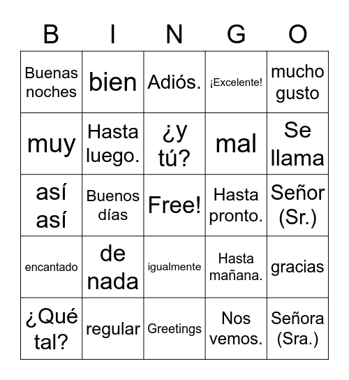 Spanish Greetings Bingo Card