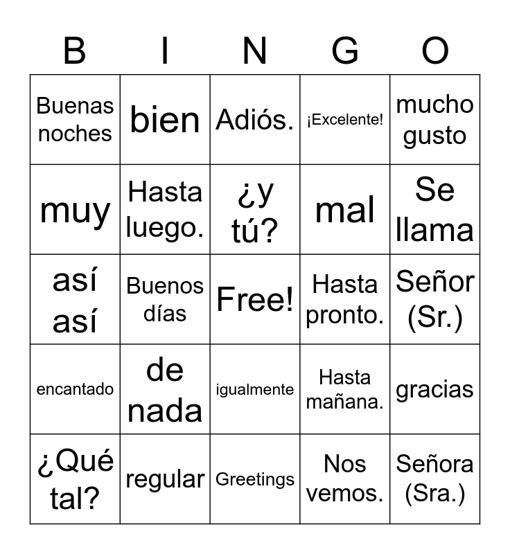Spanish Greetings Bingo Card