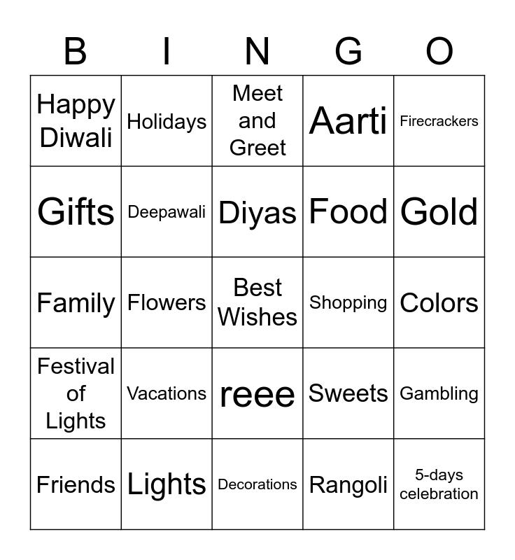 Diwali Bingo Card