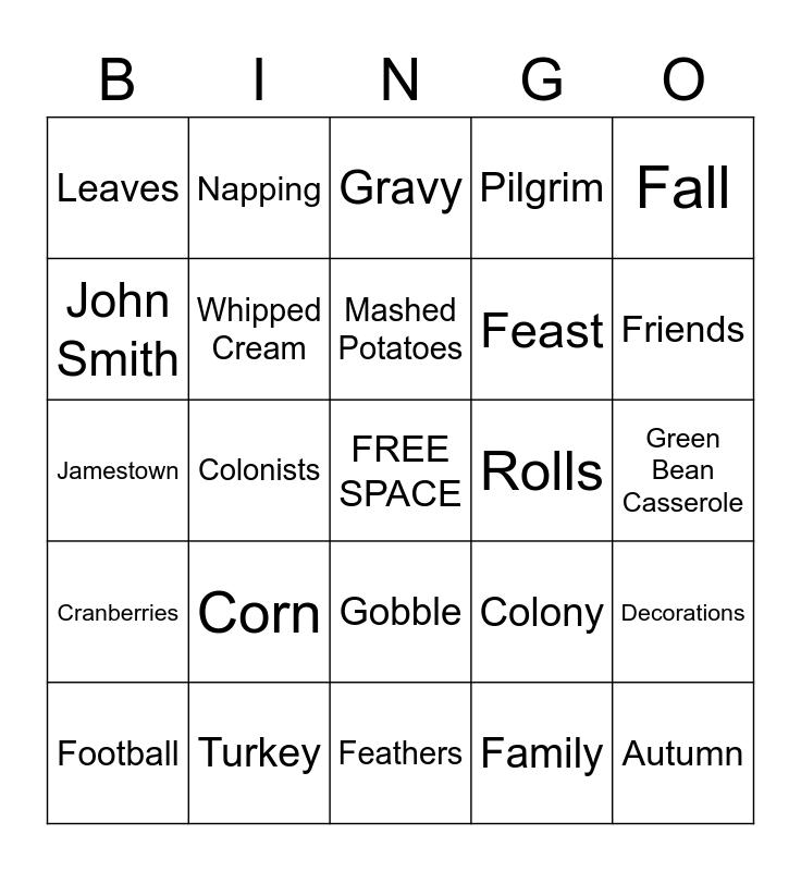 T H A N K S G I V I N G Bingo Card