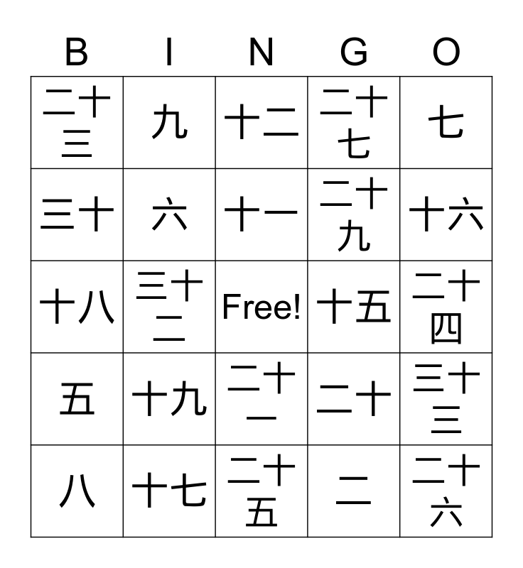 Chinese Numbers Bingo Card