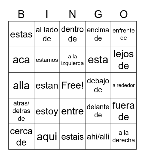 Spanish Directions Bingo Card