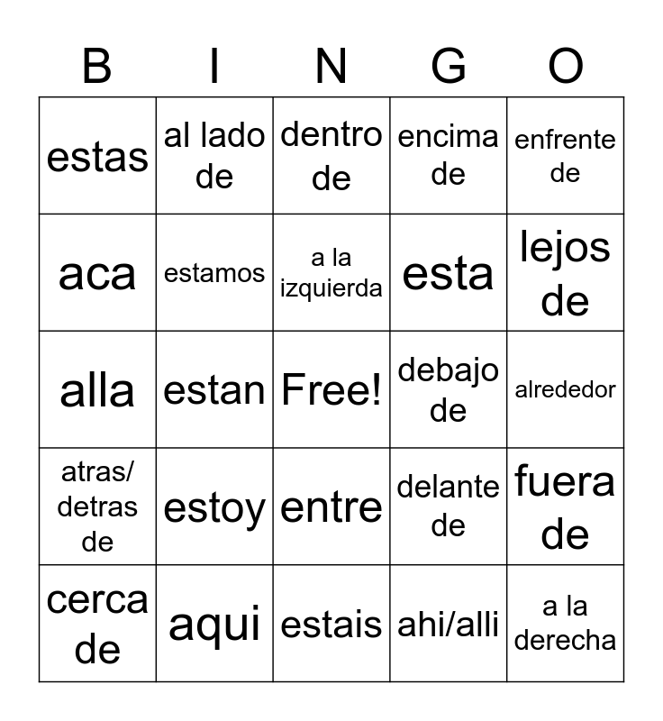 Spanish Directions Bingo Card