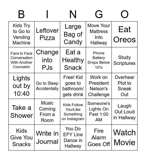 Night Watch Bingo v2.1 Bingo Card