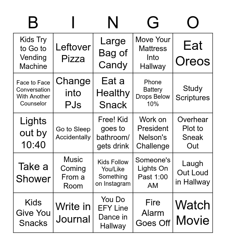Night Watch Bingo v2.1 Bingo Card