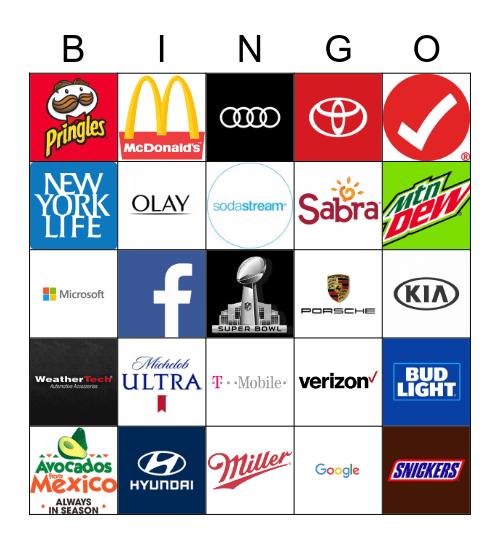 Superbowl Commercial Bingo 2020 Bingo Card