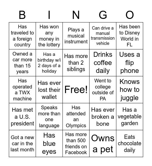 3SI Bingo Card