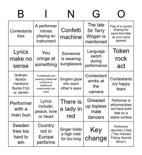 Performance Bingo Card