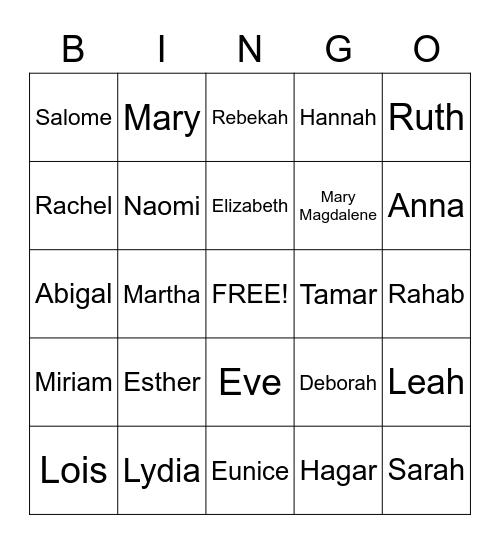 Women of the Bible Bingo Card