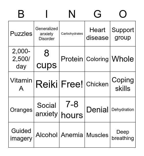 Health and Diet Bingo Card