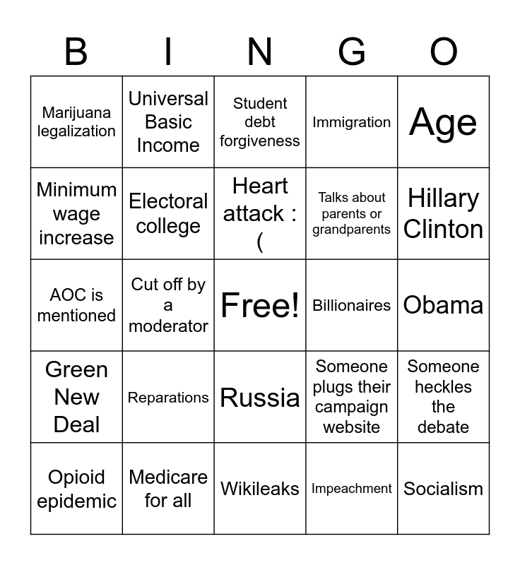 Democratic Bingo Card