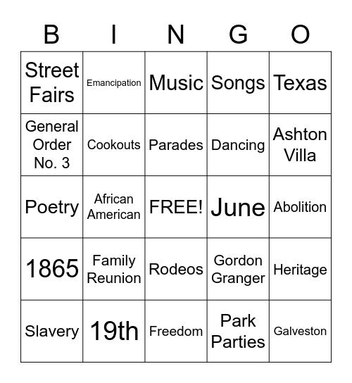 Juneteenth Bingo Card